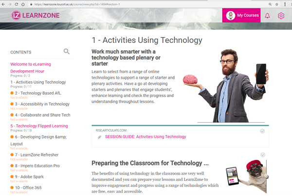 A screenshot of the LearnZone coursepage.