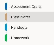 A screenshot of class notebook sections.