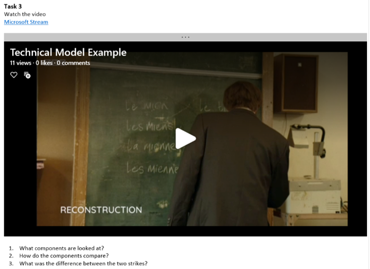 An example of how a video looks when embedded within Class Notebook.