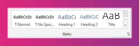 Heading styles in Microsoft word
